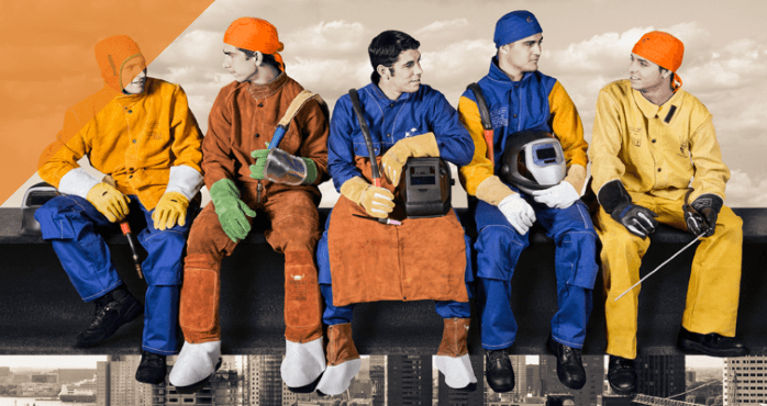 header image on which men with welding jackets are resting